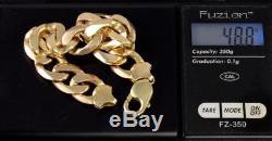 Vintage Heavy Men's Gents Solid 9Ct Gold Flat Curb Link Chain Bracelet 48.8g