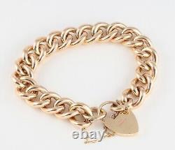 Vintage Heavy Solid 9Ct Gold Curb Link Charm Bracelet, 80.1grams
