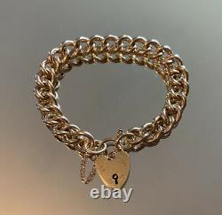 Vintage Heavy Solid 9ct Gold 7 Curb Link Chain Charm Bracelet 38.3g
