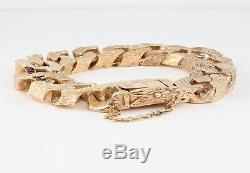 Vintage Impressive Men's Gents Solid 9Ct Gold Flat Curb Link Chain Bracelet 152g