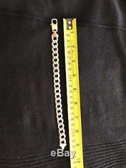 Vintage Men's Gents Heavy Solid 9Ct Gold Flat Curb Link Bracelet 49g