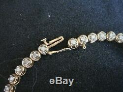 Vintage Natural 1ct Diamond & Solid 9ct Gold Line Bracelet 7 1/4 Ins