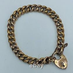 Vintage Rose Gold Alternating Engraved Plain Curb Link Charm Bracelet L336