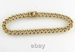 Vintage Solid 9Ct Gold Curb Link Bracelet With Snap Clasp, 34.3g