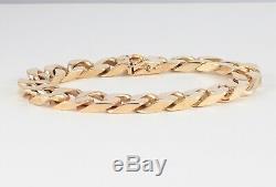 Vintage Solid 9Ct Gold Flat Curb Link Chain Bracelet 48.3grams