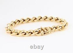 Vintage Solid 9Ct Gold Roller Ball / RollerBall Link Bracelet 7 3/4 Inches