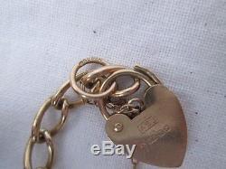 Vintage Solid 9ct Gold Padlock Charm Bracelet