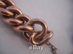 Vintage Victorian 9k 9 ct Rose Gold Heart Padlock Bracelet 30.4 grams