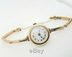 Vintage Windup Watch 1920's 9ct Yellow Rose Gold Ladies Wristwatch Preloved