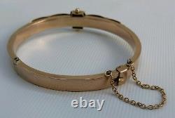 Vtg 1903 9ct 9K Solid Gold Ruby & Diamond Hinged Cuff Bangle Bracelet 6¾ 11.8g