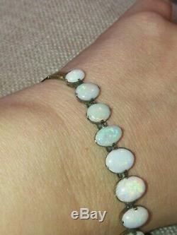 Vtg Antique Natural Black Australian Rainbow Solid Opal bracelet solid 9ct gold