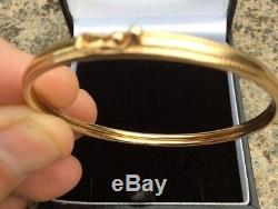Women's 9ct Solid Hallmarked GOLD Hinged Bangle Bracelet 4.4g Beaded Excellent