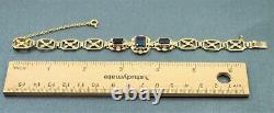 Womens Bracelet 9ct Gold & ROYAL BLUE Sapphire Art Nouveau style Vintage
