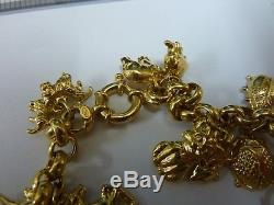 Wonderful 9ct Gold 7 Belcher Charm Bracelet with 20 charms