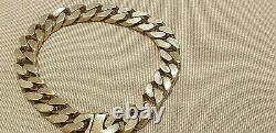 Wow Heavy Solid 9ct Gold Curb Link Bracelet Full Uk H, Marks 63. Grams Weight